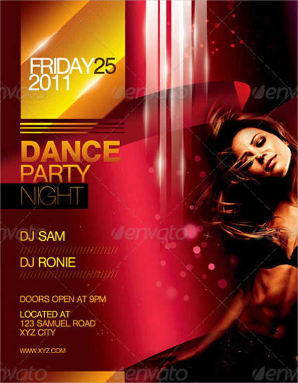 night dance party flyer