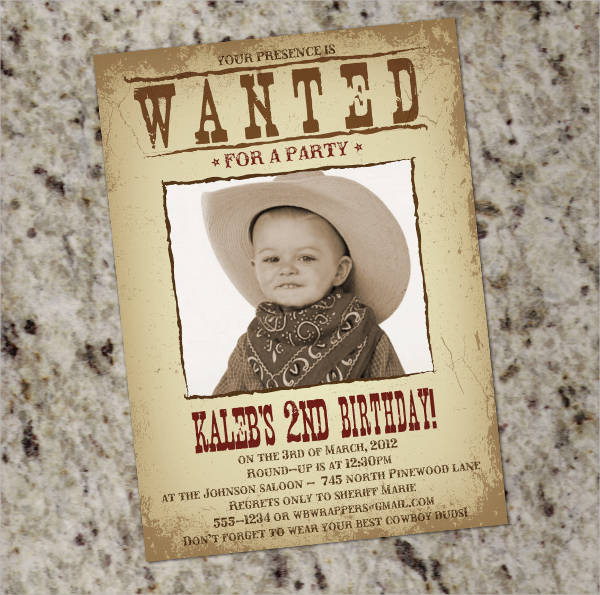 old wanted party poster template