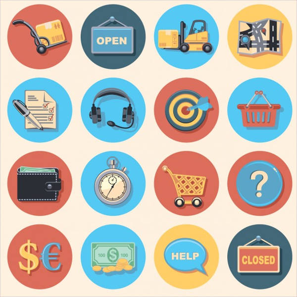 online shopping icons collection