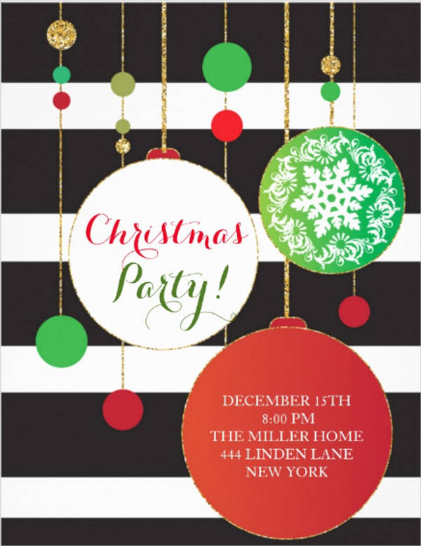 ornamental christmas party invitation