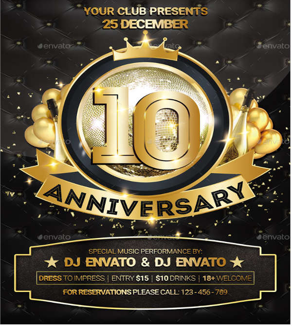 psd anniversary party flyer
