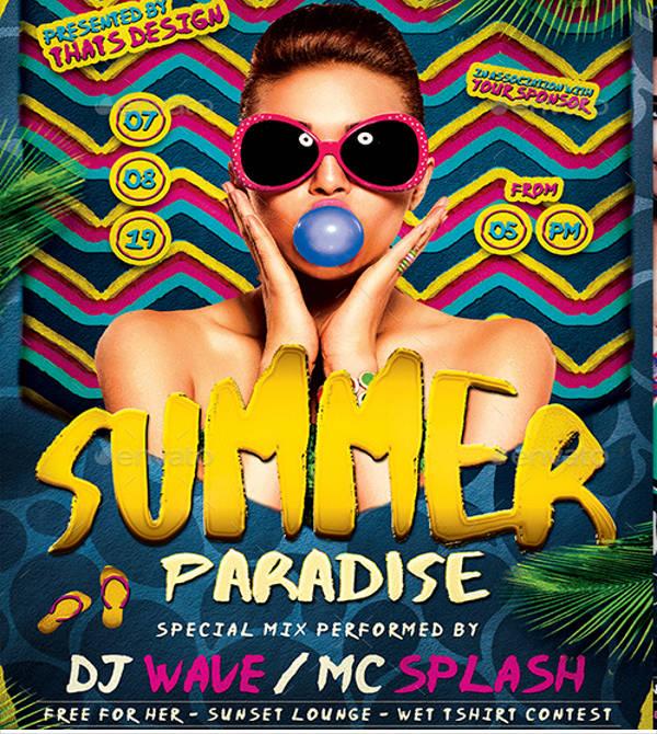 paradise summer beach party flyer template