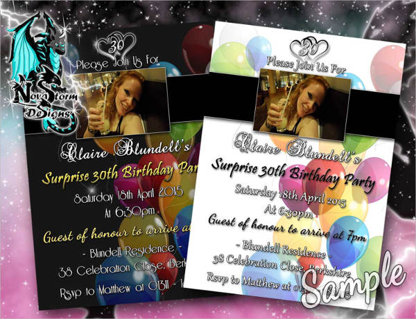 personalised surprise party invitation