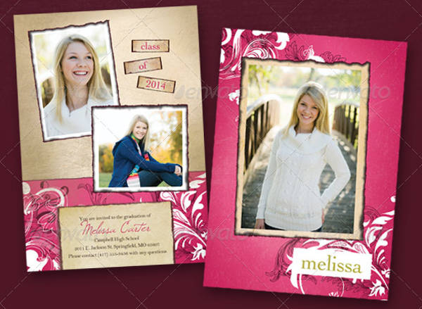pink graduation invitation template