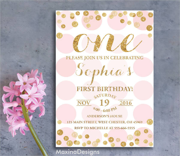 pink and gold first birthday party invitation