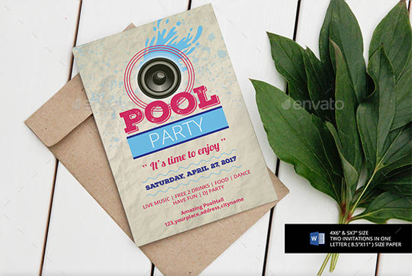 pool party flyer invitation