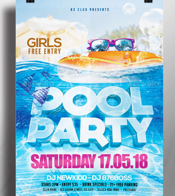 pool party flyer in psd