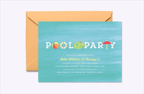 pool party psd invitation