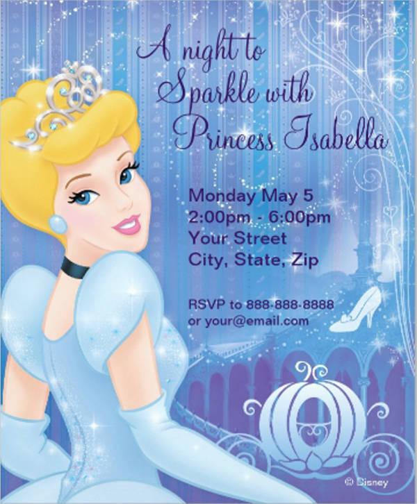 printable cinderella invitation