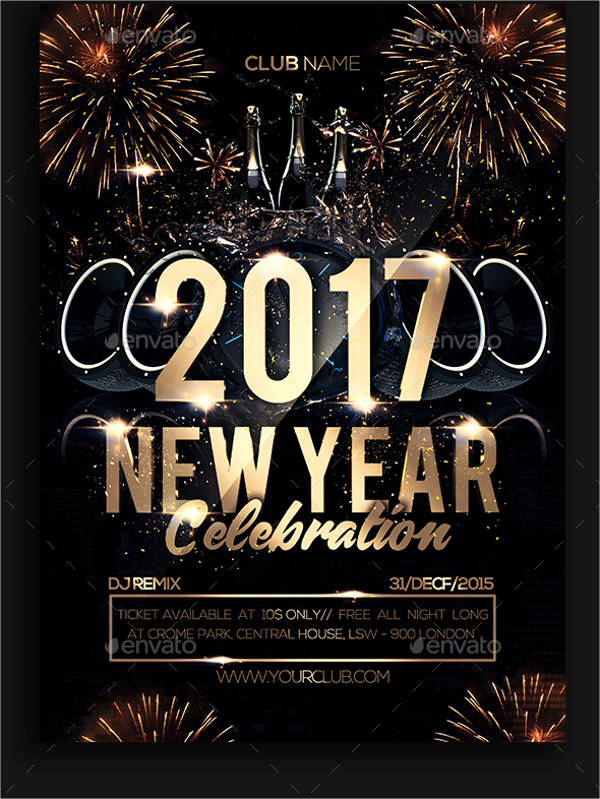 printable new year party flyer 2017 for club