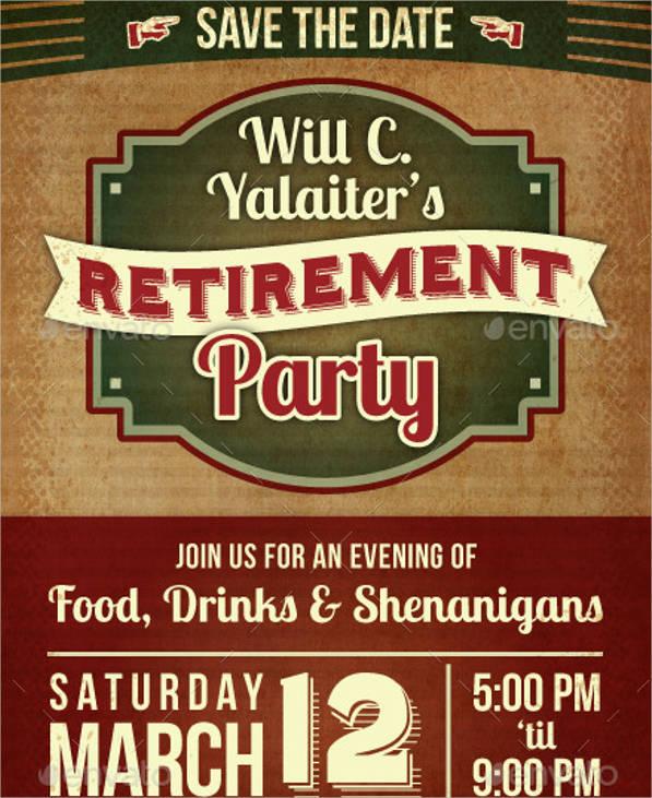 retirement party postcard invitation psd ai
