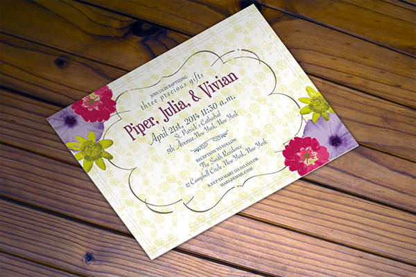 retro baptism invitation card template