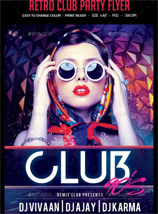 retro club party flyer