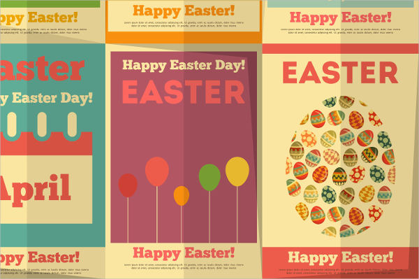 retro easter poster design template