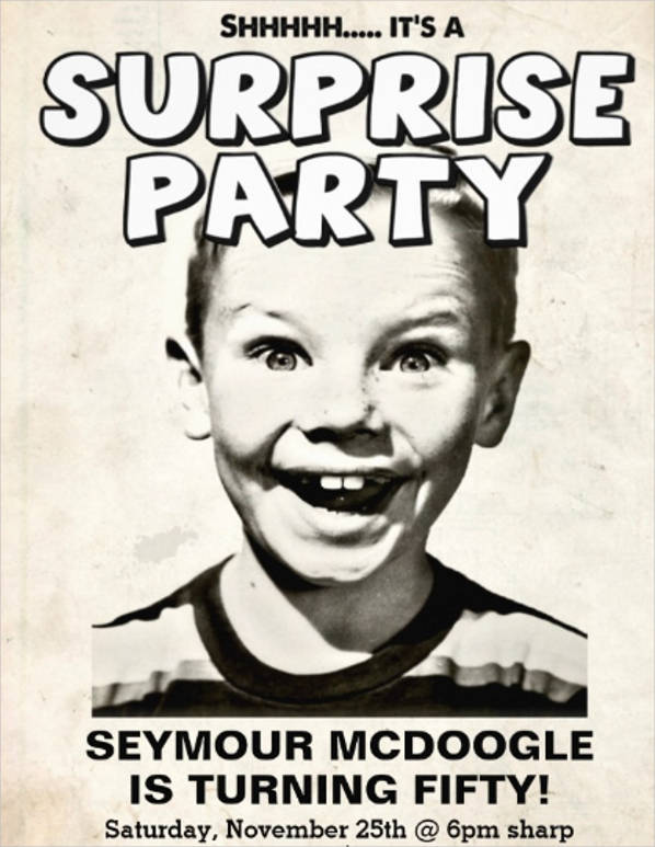 retro surprise party invitation template