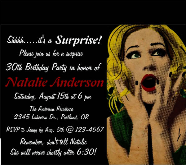 retro surprise party invitation