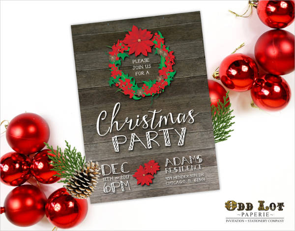 rustic christmas party invitation