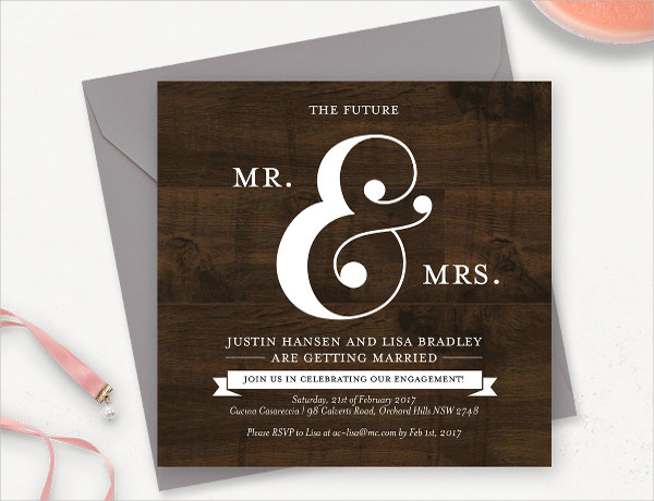 rustic engagement invitation template