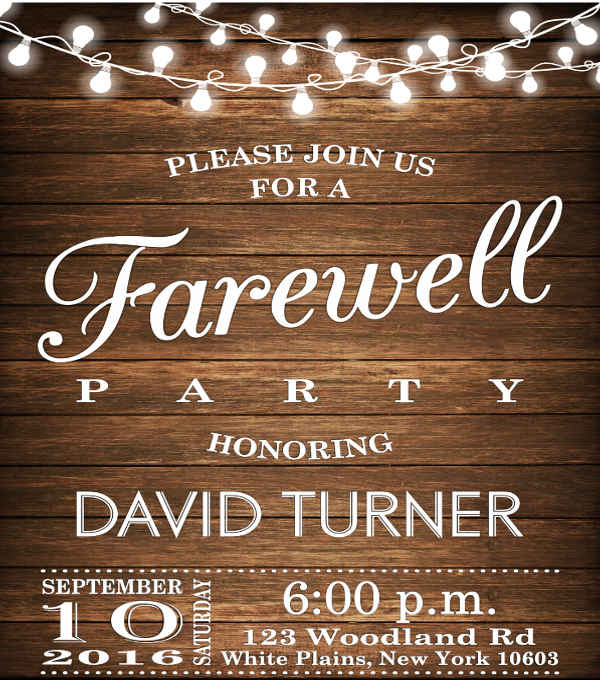 Rustic Farewell Invitation Template