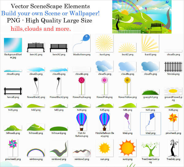 scenic elements vector pack
