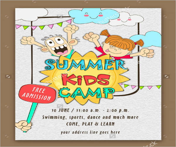 school camp admission event flyer