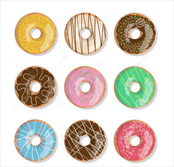 set of cartoon vector donuts illustration