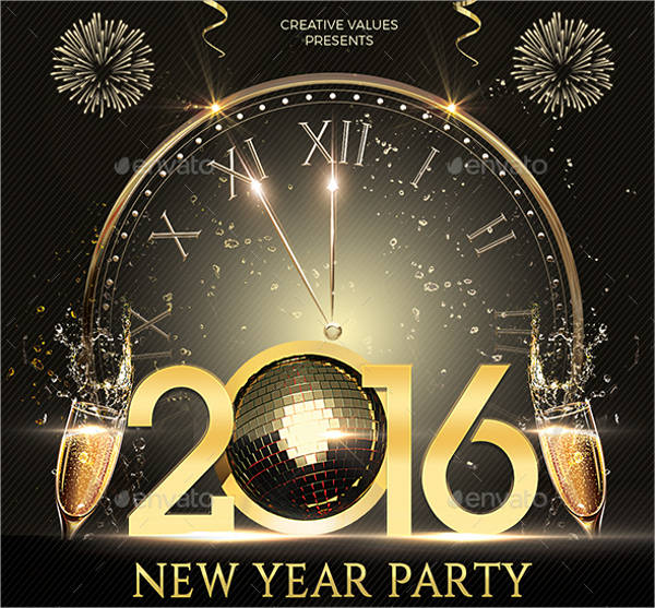 simple 2016 new year party flyer