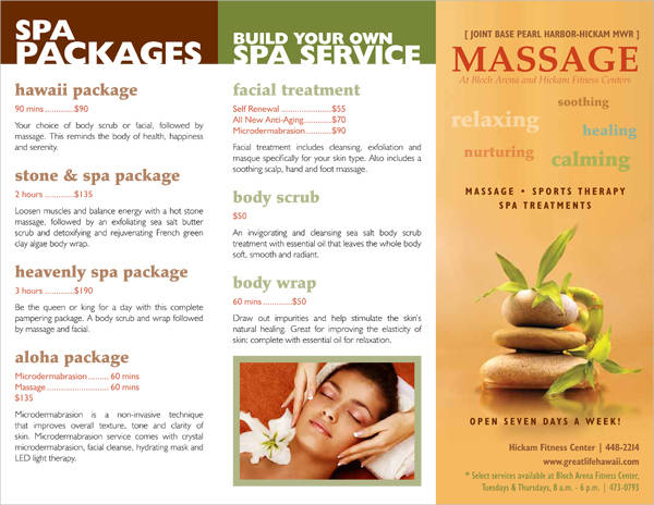 spa massage brochure