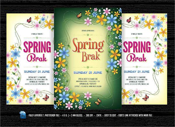 spring break party club flyer