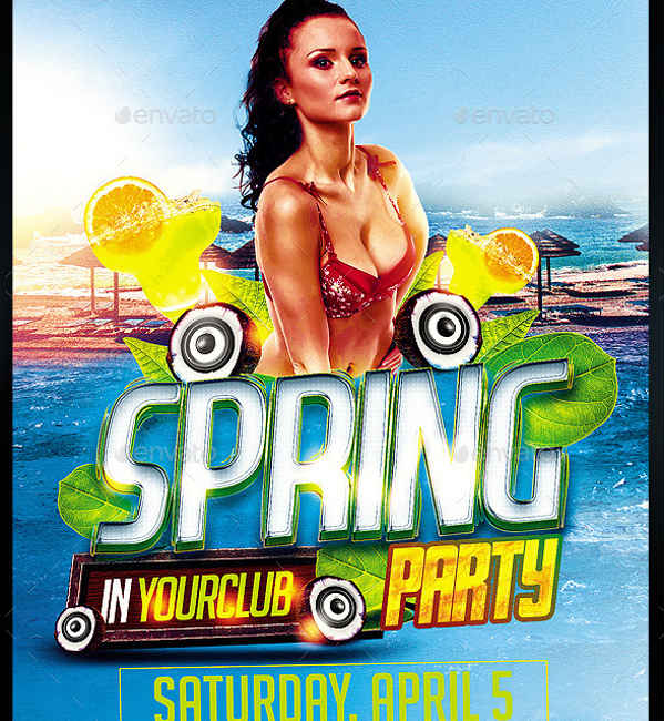 spring party flyers psd