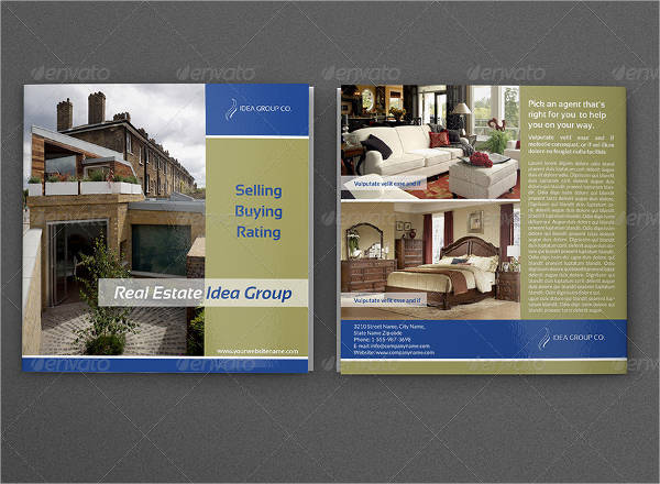 square bifold brochure for real estate