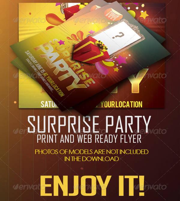 surprise birthday event flyer
