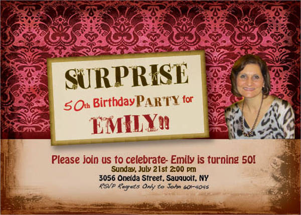 surprise birthday party invitation templates