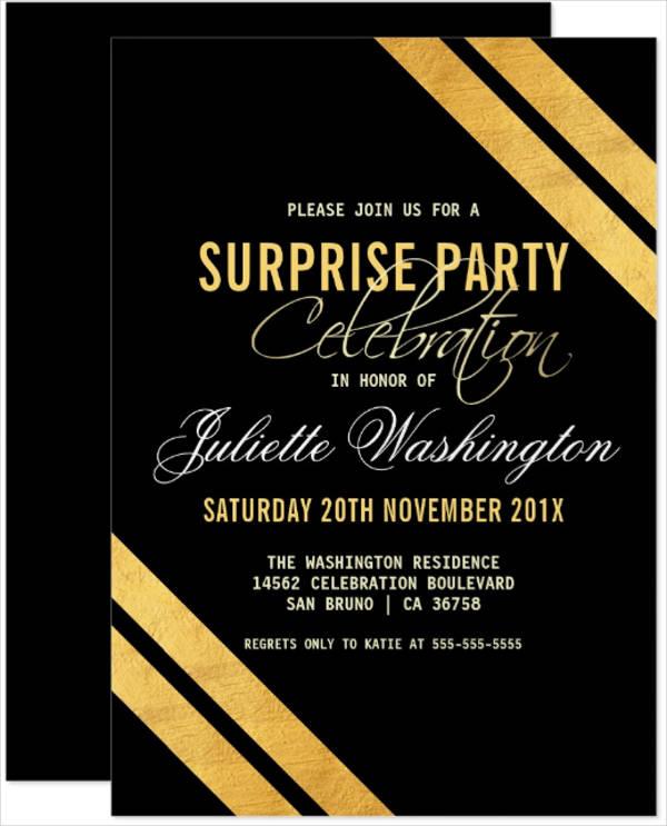 surprise party psd invitation