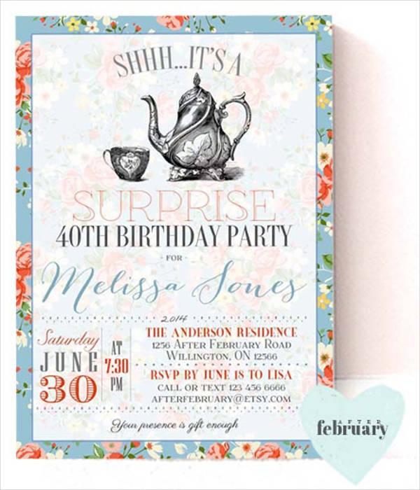 surprise tea party invitation