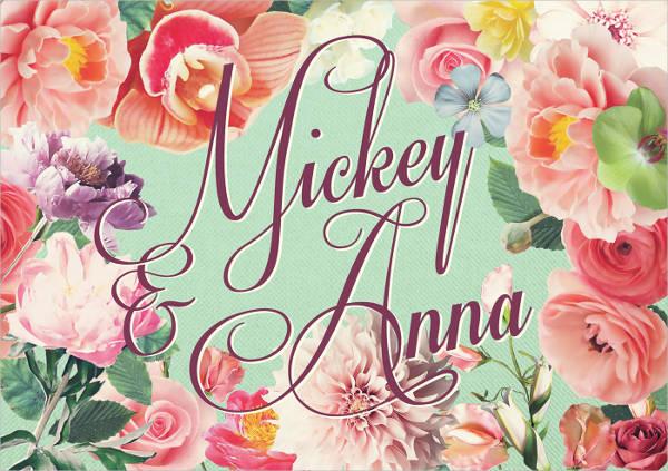 sweet floral wedding invitation