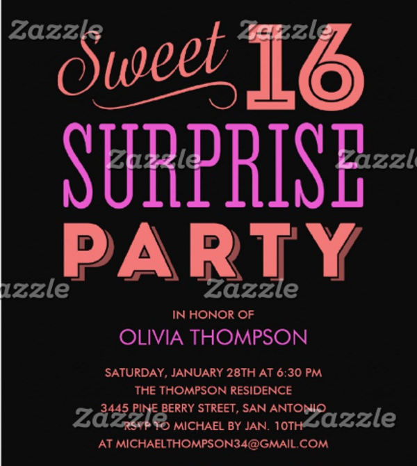 sweet sixteen surprise party invitation