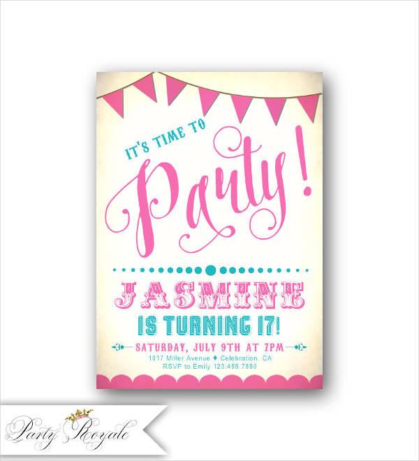 teenage birthday party invitation templates