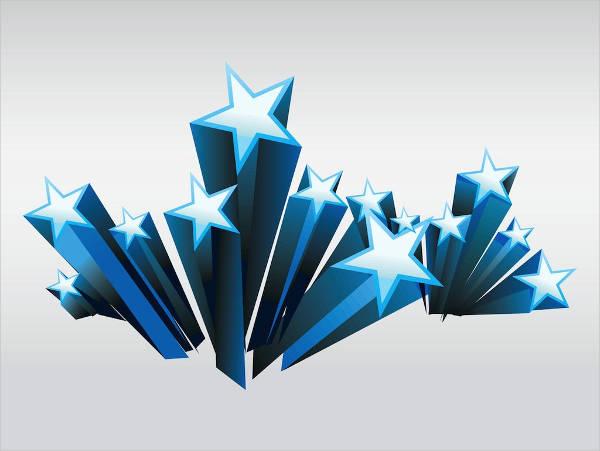 three dimensional star shape vector