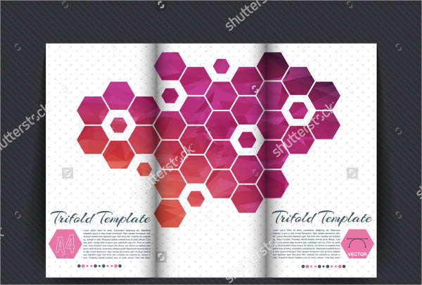 tri fold brochure with hexagons