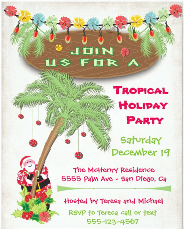 tropical christmas party invitation