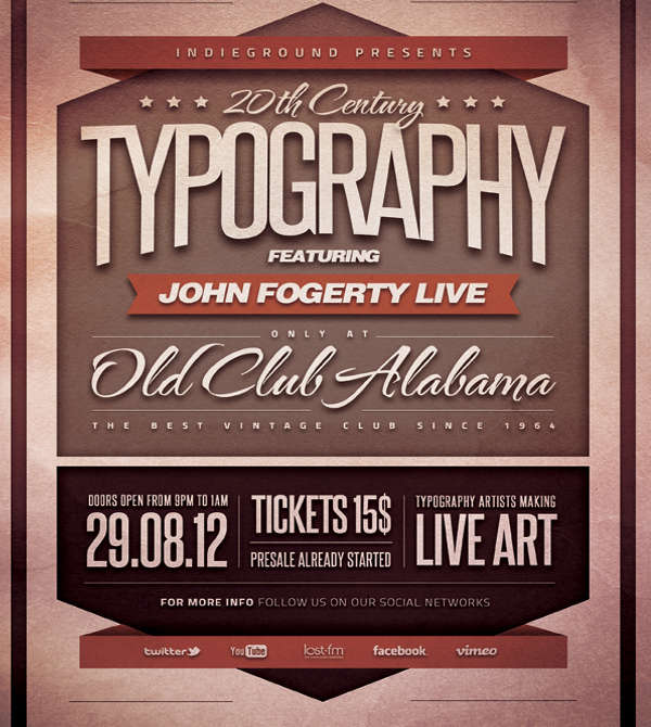typographic club flyer template