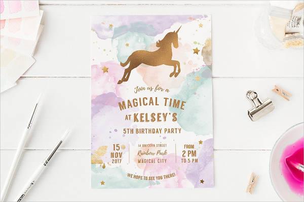 unicorn birthday party invite