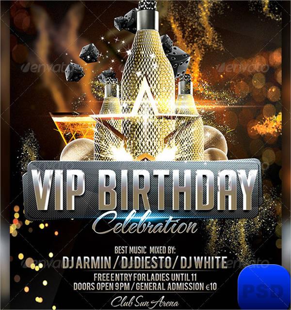 vip birthday party flyer templates