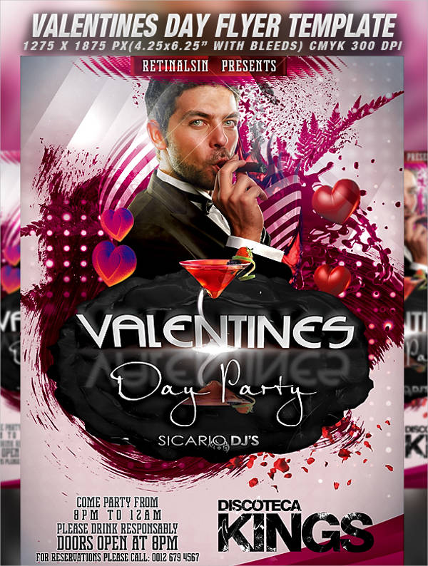 valentine's day party flyer in psd