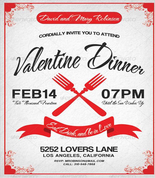 valentine dinner invitation template