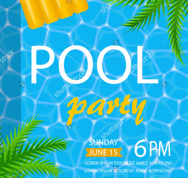 vector pool party invitation
