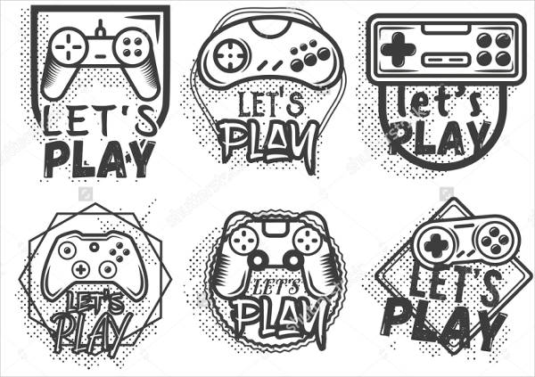 vector set of game play joystick in vintage style