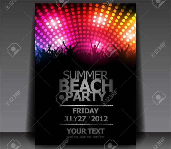 vector summer beach party flyer design with disco