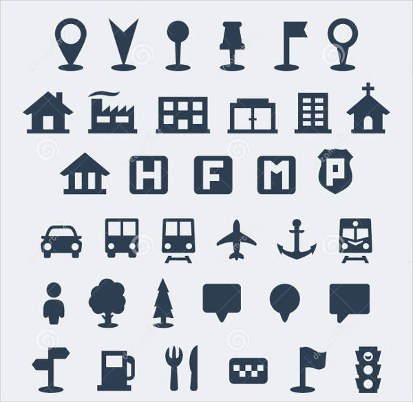 vector collection of map icons